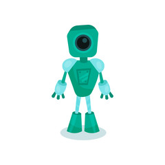 Turquoise friendly robot, artificial intelligence cartoon vector Illustration