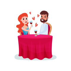 Happy couple in love on a date, man and woman sitting at the table and having dinner cartoon vector Illustration