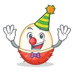 Clown rambutan mascot cartoon style