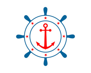rudder anchor sailor hook harbor navy marine icon symbol image