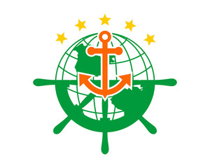 earth rudder anchor sailor hook harbor navy marine icon symbol image