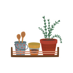 Herbs, spices containers and kitchenware utensil on wooden shelf cartoon vector Illustration