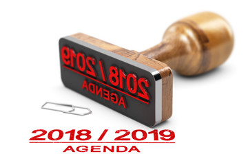 Agenda or Planning 2018 2019 Over White Background