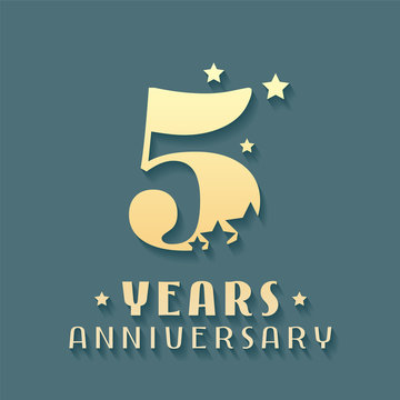 5 years anniversary vector icon, symbol, logo