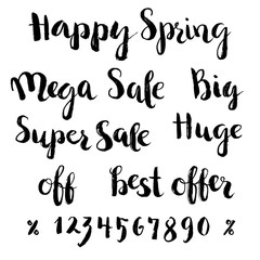Spring sale lettering set with numbers. Hand drawn phrases. Brush strokes texture.