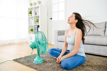 happy woman blowing electric fan in summer day