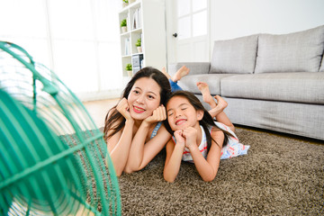 selective focus of mother with little daughter