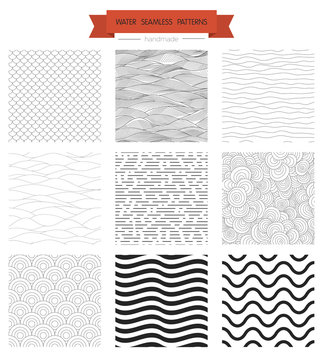 Outline waves, geometrical seamless patterns