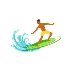 Smiling african american man with surfboard standing and riding on the ocean wave, water extreme sport, summer vacation vector Illustration