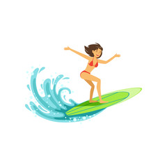 Cheerful female surfer riding a big wave, water extreme sport, summer vacation vector Illustration
