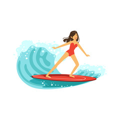 Beautiful brunette girl in red swimsuit surfing on the ocean wave, water extreme sport, summer vacation vector Illustration