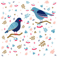 Vector pattern with birds and other nature elements on white background
