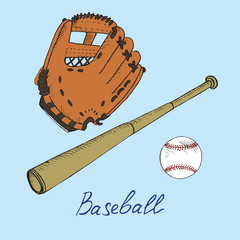 Baseball equipment set: ball, bat and glove, hand drawn doodle sketch with inscription, isolated vector color illustration