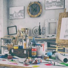 Künstlerische Ausstattung im Atelier mit einem Tisch voller Farben und Pinsel, im Hintergrund Gemälte, Regale und einer Staffelei aus Holz -  Retro Look