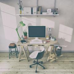 Skandinavisches, nordisches Arbeitszimmer mit einem Schreibtisch - Home Office - Büro - Heimarbeit - Retro Look
