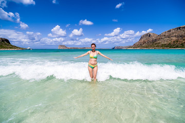 Woman in crystal clear sea