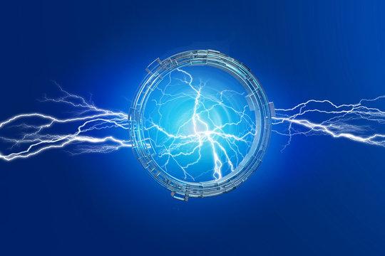 Thunder lighting bolt in a science fiction wheel interface - 3d render
