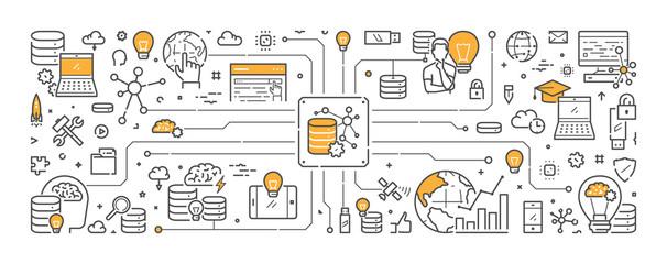 Vector line web banner for big data