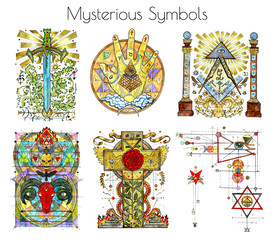 Design set with watercolor illustrations of mysterious and religious symbols isolated on white. Freemasonry and secret societies emblems, occult and spiritual mystic drawings