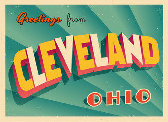 Vintage Touristic Greeting Card From Cleveland, Ohio - Vector EPS10. Grunge effects can be easily removed for a brand new, clean sign.