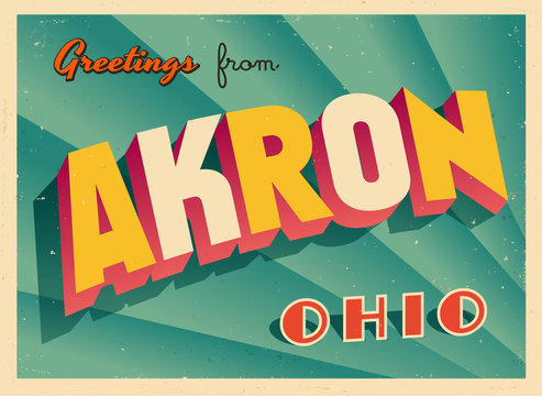 Vintage Touristic Greeting Card From Akron, Ohio - Vector EPS10. Grunge effects can be easily removed for a brand new, clean sign.