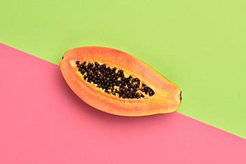Papaya Tropical Fruit. Bright Sweet Color. Flat lay. Trendy fashion Style. Minimal. Hot Summer Vibes. Orange papaya, Surreal. Detail, Pop Art