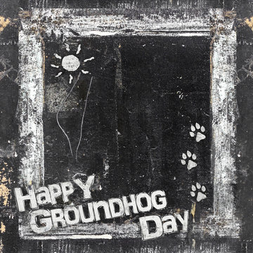 Small chalkboard Groundhog Day