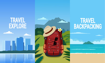 Backpack travel to the city forest and beach.
