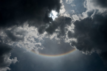 A Part of Circular sunlight in cloudy sky