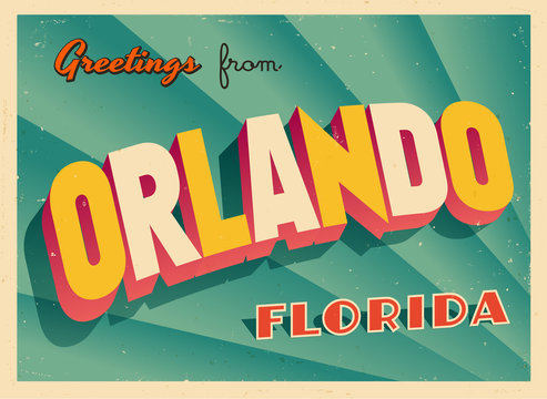 Vintage Touristic Greeting Card From Orlando, Florida - Vector EPS10. Grunge effects can be easily removed for a brand new, clean sign.