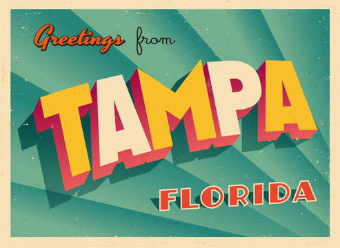 Vintage Touristic Greeting Card From Tampa, Florida - Vector EPS10. Grunge effects can be easily removed for a brand new, clean sign.