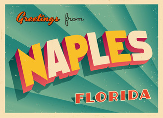 Vintage Touristic Greeting Card From Naples, Florida - Vector EPS10. Grunge effects can be easily removed for a brand new, clean sign.