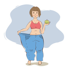 Use fruit diet / A very thin woman tries on her old trousers, vector illustration