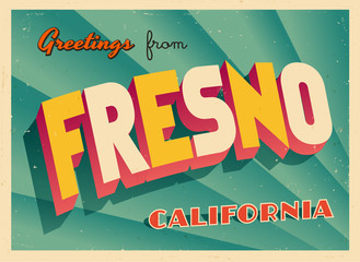 Vintage Touristic Greeting Card From Fresno, California - Vector EPS10. Grunge effects can be easily removed for a brand new, clean sign.