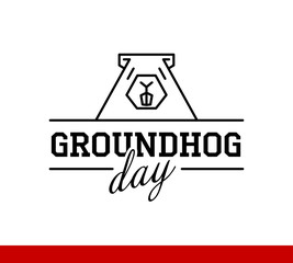 Groundhog Day. inscription on postcard and picture of Groundhog