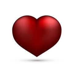 Realistic red heart isolated on white. Valentine's day greeting card background. 3D icon. Romantic vector illustration. Easy to edit design template.