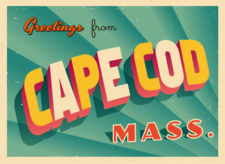 Vintage Touristic Greeting Card From Cape Cod, Massachusetts - Vector EPS10. Grunge effects can be easily removed for a brand new, clean sign.