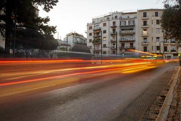 Ηour of peak traffic in Athens.Car motion.