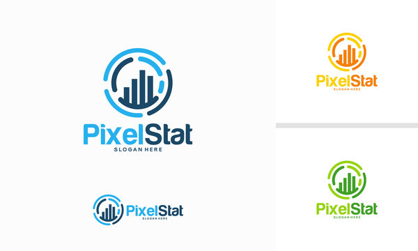 Pixel Stats logo designs concept vector, Graph Technology logo template