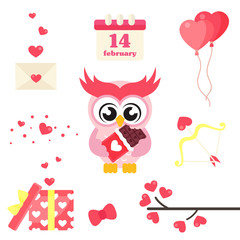 cartoon cute lovely owl with chocolate set vector image