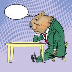 Happy Groundhog Day. Lettering greeting. Sitting Sad Groundhog