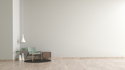 Modern interior living room wood floor white cement texture wall with green chair template for mock up 3d rendering. minimal living room design