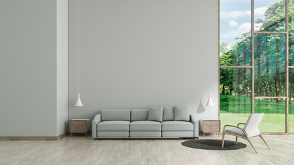Modern interior living room wood floor white texture wall with gray sofa and chair window garden view template for mock up 3d rendering. minimal living room design
