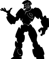 Cartoon black and white silhouette illustration of a mighty futuristic  robot in a standing pose