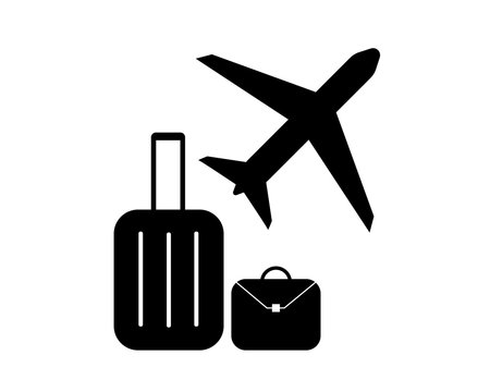 travel baggage for airplane on airport - pictogram vector