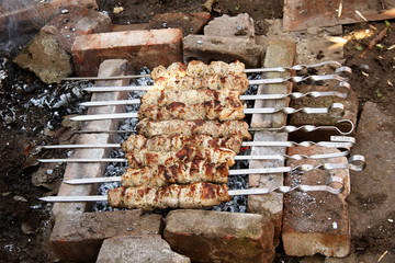Roasted pork meat on the grill. Caucasian shashlik