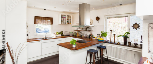 Horizontal Banner Of A Fancy Kitchen Interior With Dark Wooden Floor