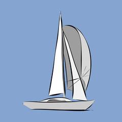 Hand drawn white sailboat, vector