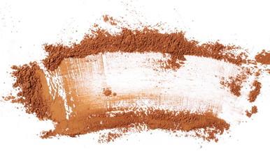 Cocoa powder pile isolated on white background
