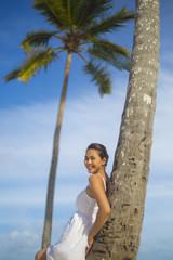 A woman on a Bavaro beach in Punta Cana region of Dominican Republic